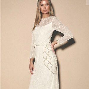 Brooklyn White Beaded Long Sleeve Maxi Dress